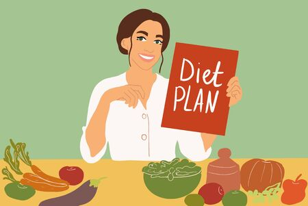 Illustration pour Female nutritionist sitting with a diet plan at the table full of healthy food ingredients on the green background. Colorful vector illustration in flat cartoon style - image libre de droit