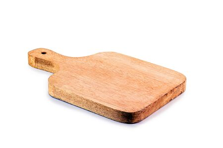 chopping board made of wood on isolated, rustic white background. Made in Brazil, decorative product for kitchen.
