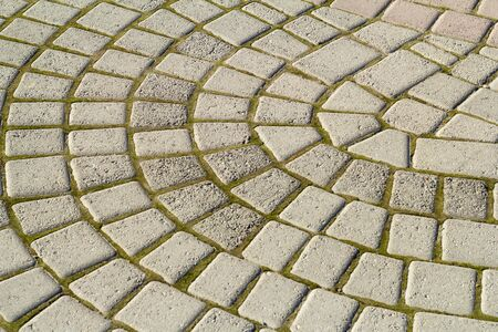 Photo for Symmetrical pattern of sidewalk tile with green moss .Grey pavement stone texture - Royalty Free Image