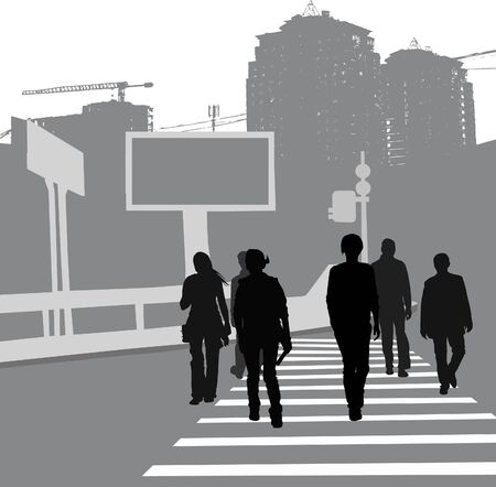Group of people crossing the road, black silhouettes.