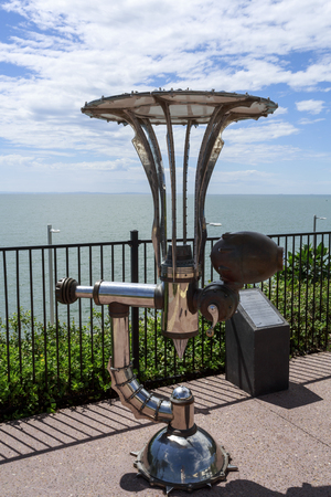 The Apparatus for Non-destructive Transmission of Biological Visualisation by Russel Anderson looking at the ocean in Redcliffe foreshore