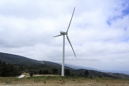 View of a turbine of the Videmonte Wind Farm, Beira Alta, Portugal