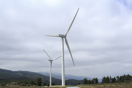 View of the turbines of the Videmonte Wind Farm, Beira Alta, Portugal