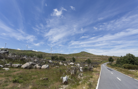 View of the turbines of the wind farm of Cabril in the Montemuro Mountain Range, in northern Portugal