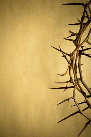This Crown of Thorns against parchment paper represents Jesus