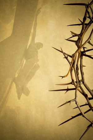 Photo for Easter photo background illustration with Crown of Thorns on Parchment Paper with Jesus Christ on the Cross faded into the background. - Royalty Free Image