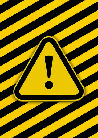 Hazard triangle with diagonal black and yellow lines in background