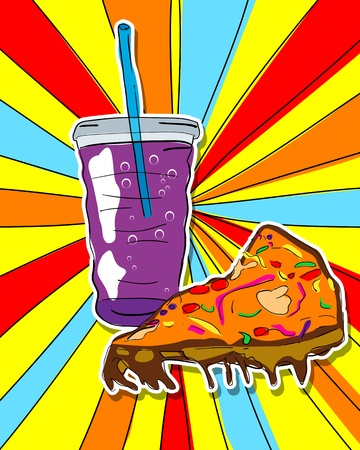 Pop art graphic background with pizza slice and soda, junk food conceptual graphic