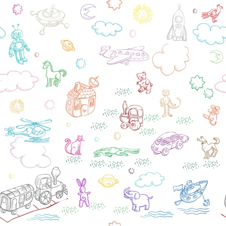 toy doodles pattern for boys and girls isolated on white