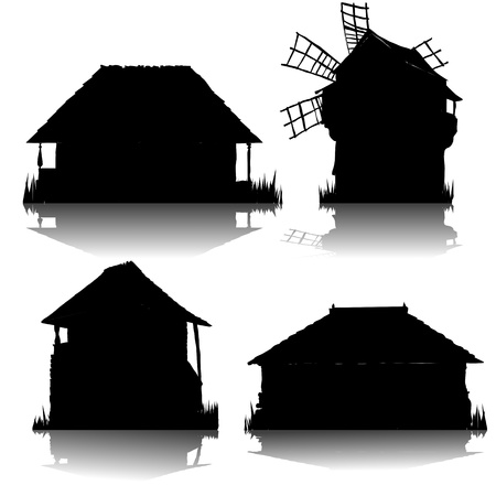 ecological country houses silhouettes collection