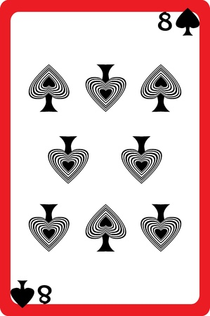 Scale hand drawn illustration of a playing card representing the eight of spades, one element of a deck