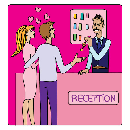 Illustration pour Valentine's Day or honeymoon card, cartoon illustration of two lovers at the hotel reception taking a key from the receptionist - image libre de droit