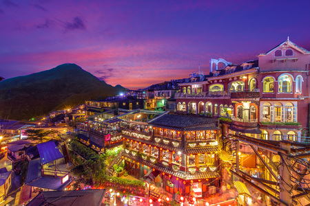Photo for night scene of Jioufen village, Taipei, Taiwan - Royalty Free Image
