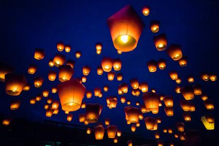 Photo pour PingSi Sky Lantern Festival in Taipei, Taiwan - image libre de droit