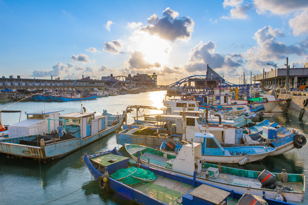 Photo for yongan fishing port at Taoyuan by the sunset - Royalty Free Image