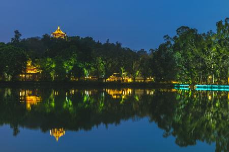 West Lake (xihu) park in Fuzhou, China at night