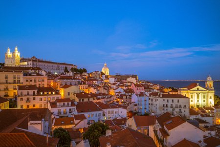 Photo for skyline of lisbon, the capital of  portugal at night - Royalty Free Image