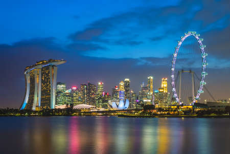 Photo for skyline of singapore at marina bay and gardens - Royalty Free Image