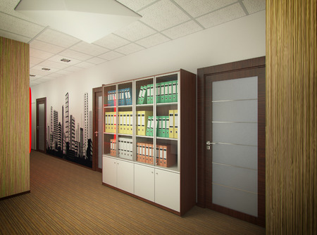 3D render of interior design of office of agency of real estate