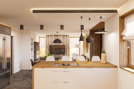 Living Room And Kitchen Interior Design With Fireplace Modern House