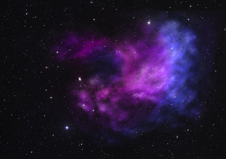 Foto de Far being shone nebula and star field against space. Elements of this image furnished by NASA . 3D rendering. - Imagen libre de derechos