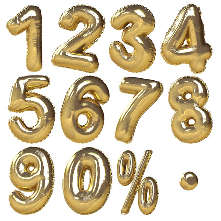 Foto de Balloons of numbers   percentage symbols presented in golden metallic style  Ideal for discount sale usage  Isolated in white background - Imagen libre de derechos