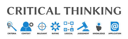 Banner on the topic: Critical Thinking with symbols. Isolated against a white background.
