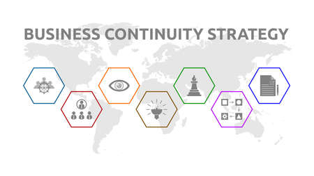 Foto für Business Continuity Strategy. Banner with icons. Management, Organization, Analysis, Resilience, Strategy, Procedures, Test. - Lizenzfreies Bild