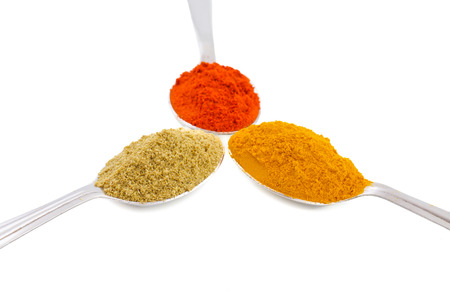 Indian Spices in Spoons Also Know as Red Chilli Powder, Turmeric Powder, Coriander Powder, Mirchi, Mirch, Haldi, Dhaniya Powder Isolated on White Background