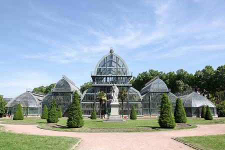 Greenhouse in parc de la tete d-or in Lyon, France