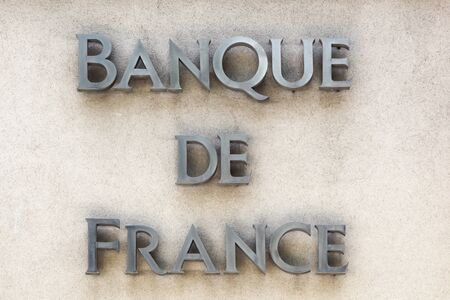 Nimes, France - May 30 2017: Bank of France sign on a wall. The Bank of France headquartered in Paris, is the central bank of France
