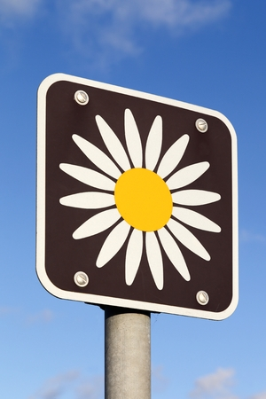 Marguerite route sign in Denmark. The Marguerite route is a tourist route in Denmark passing approximately 1000 of Denmark's smaller and larger attractions, sights and historic sites