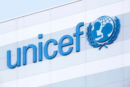Copenhagen, Denmark - September 10, 2017: Unicef warehouse in Copenhagen. Unicef is a United Nations programme that provides humanitarian and developmental assistance to children and mothers