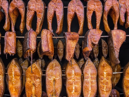 Smoked fish in a smoker