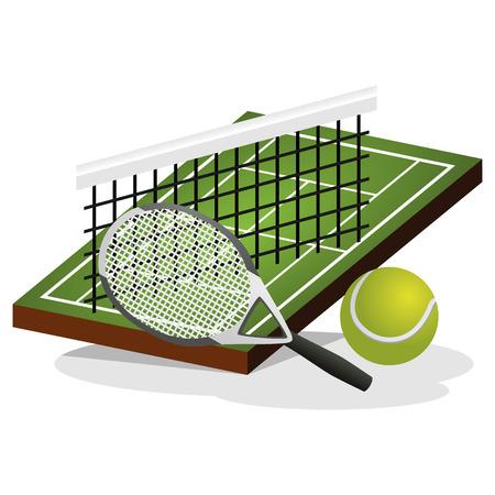 Tennis Field and Ball Vector Illustration