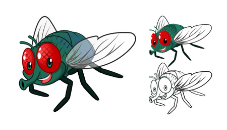 High Quality Detailed Fly Cartoon Character with Flat Design and Line Art Black and White Version Vector Illustration