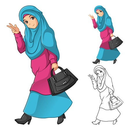 Illustration pour Muslim Girl Fashion Wearing Green Veil or Scarf with Holding a Black Bag and Dress Outfit Include Flat Design and Outlined Version Cartoon Character Vector Illustration - image libre de droit