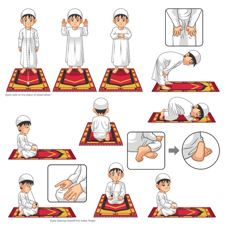 Illustration pour Complete Set of Muslim Prayer Position Guide Step by Step Perform by Boy Vector Illustration - image libre de droit