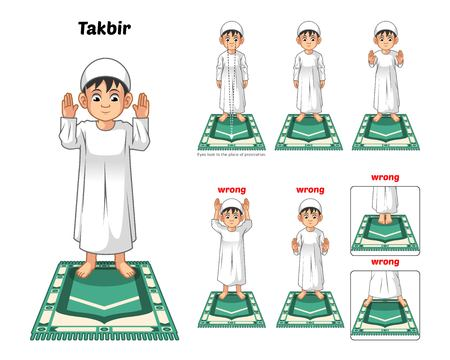 Illustration pour Muslim Prayer Position Guide Step by Step Perform by Boy Standing and Raising The Hands with Wrong Position Vector Illustration - image libre de droit