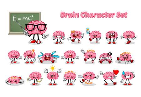 Illustration pour Set of Brain Cartoon Character Vector Illustration - image libre de droit