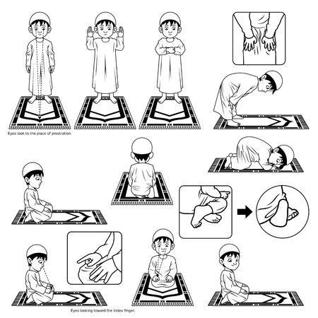 Illustration pour Complete Set of Muslim Prayer Position Guide Step by Step Perform by Boy Outline Version Illustration - image libre de droit