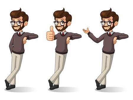 Illustration pour Set of hipster businessman cartoon character design stand leaning against, isolated against white background. - image libre de droit