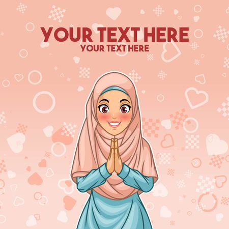 Illustration pour Young Muslim woman wearing hijab veil smiling greeting with welcoming gesture - image libre de droit