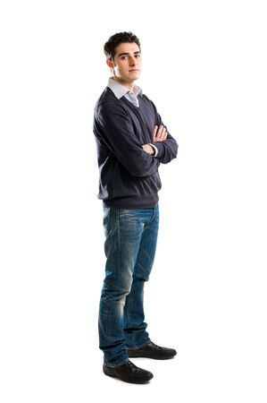 Full length portrait of young man standing isolated on white background