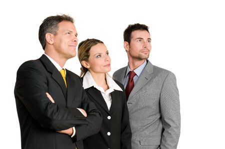 Satisfied confident business team looking away at their bright future isolated on white backgroundの写真素材