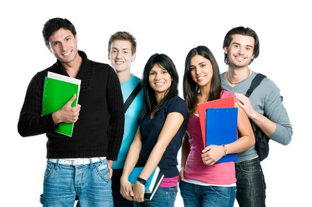 Foto de Group of happy young teenager students standing and smiling with books and bags isolated on white background. - Imagen libre de derechos
