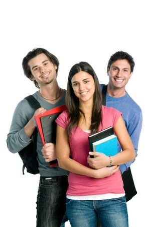 Photo pour Three happy students standing together with fun, while smiling and looking at camera isolated on white background. - image libre de droit