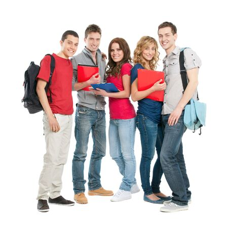 Photo pour Happy smiling group of students standing isolated on white background - image libre de droit
