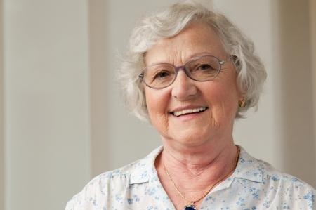 Photo for Happy smiling senior woman looking at camera at home - Royalty Free Image