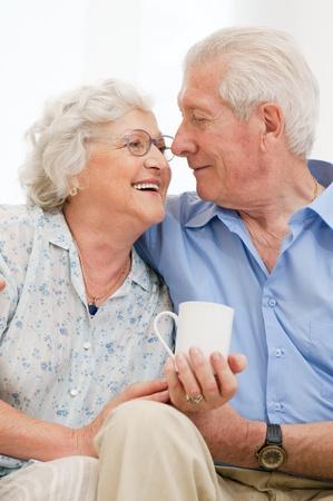 Foto de Senior loving couple enjoy together their retirement at home - Imagen libre de derechos